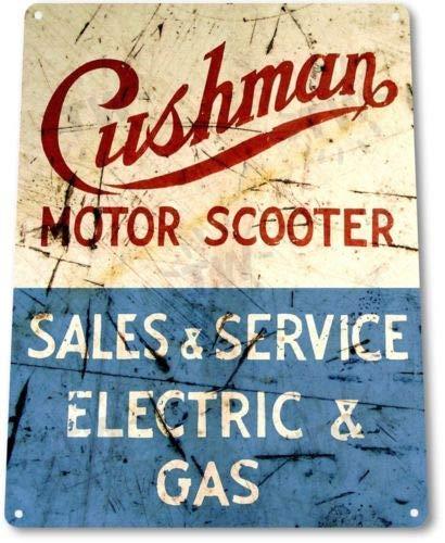Metalen tinnen bord 8x12 inch TIN teken Cushman Scooter Service Motorwinkel bromfiets rustiek teken