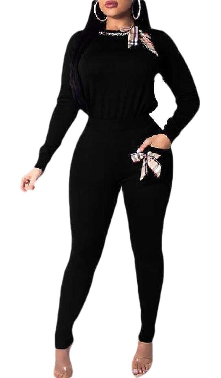 期待してかみそり分泌するレディース2ピース衣装 ロングスリーブプルオーバー+スキニーロングパンツ トラックスーツセット