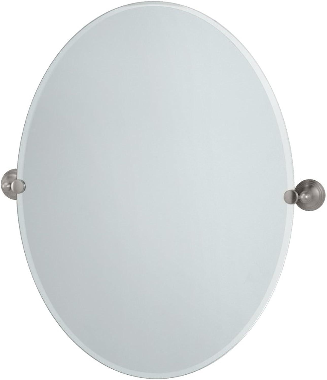 Gatco 4369LG Charlotte Large Oval Wall Mirror, Satin Nickel