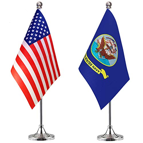LoveVC US Navy Desk Flag Small Mini USA Office Military Table Flags with Stand Base,2 Pack