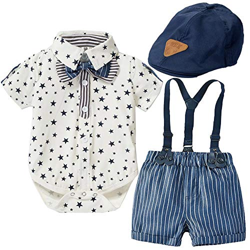 Baby Boy Gentleman Abiti Neonato Stella Camicia+Stripe Bib Shorts+Cap Tuta Set Star Stripe 9-12 Mesi/80