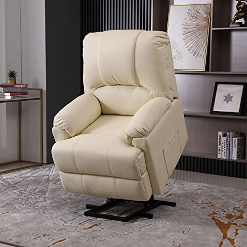 Power Lift Chair, Electric Recliner Lift Chair with Heat and Massage for Elderly Pregnancy, Breath Leather Ergonomic Reclining Sofa Chair Up to 330 LB with Side Pocket and Remote Controls (Beige)