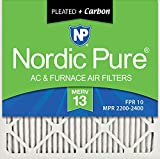 Nordic Pure 20x20x1 MERV 13 Plus Carbon Pleated AC Furnace Air Filters, 20x20x1M13+C-2