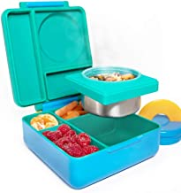 Omie B9099 Kids-Insulated Bento Lunch Box with Leak Proof Thermos Food Jar-3 Compartments, Two Temperature Zones, (Single), (Meadow)