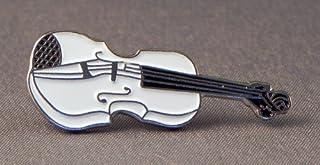 Broche en métal émaillé avec violon musical orchestral (Blanc)