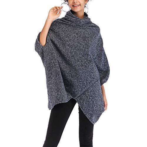 Xiang Ru 1/2 Aermel Damen Strikjacke Outwear Jacke Gestrickter Umhang Poncho-Schal für Herbst Frühling Blau