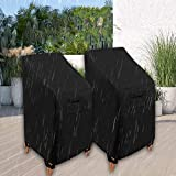 WOMACO Stackable Patio Chair Cover 2 Pack Waterproof Outdoor Stacking High Back Chair Cover Water Resistant Outside Furniture Tall Chair Protector (2 Pack - 29.5' L X 29.5' W X 47' H, Black)