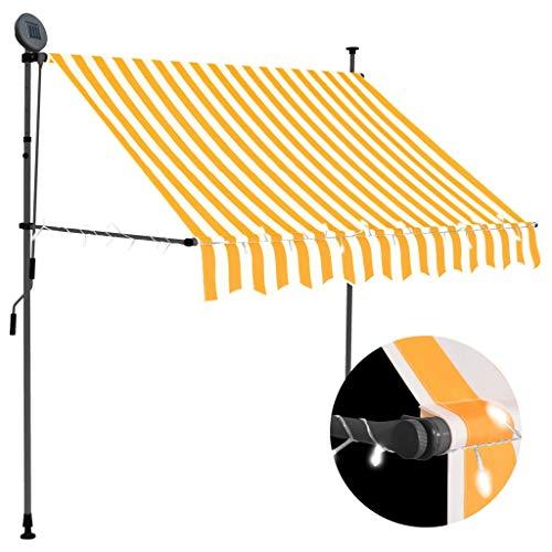 GOTOTOP Toldo retráctil con Solar LED para Ventanas 100 x 120cm, Altura Ajustable 2-3 M, Toldos Impermeables Protección Solar con manivela para Balcón y Terraza, Blanco y Naranja