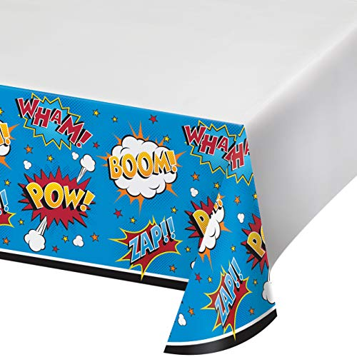 Superhero Slogans Value Plastic Tablecover Border Print
