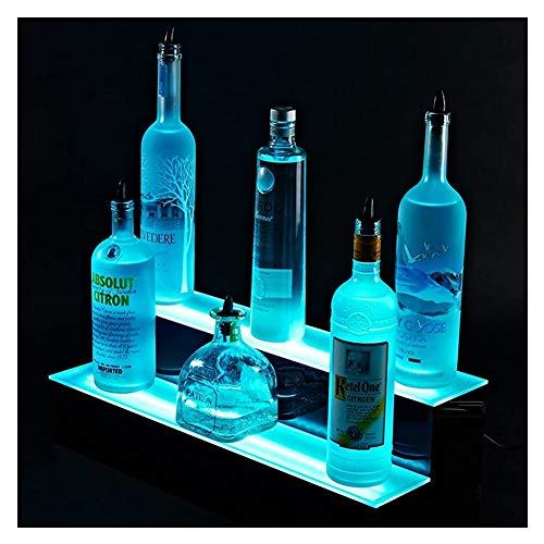 LSGMC Acryl 2 Tier Beleuchtetes Weinregal LED Beleuchteter Alkohol-Flasche Display Kit Bar Regal mit Fernbedienung für Birthday Hochzeit Weihnachtsfeier, Club, Bars,40 * 21 * 17cm