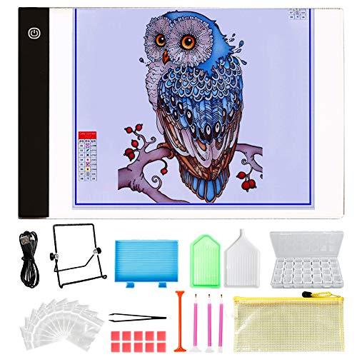 UHAPEER Kit de Peinture Diamant 5D avec Tablette Lumineuse LED et Support 30 ustensiles de Peinture et boîte de 28 emplacements pour Ranger la Peinture diamantée
