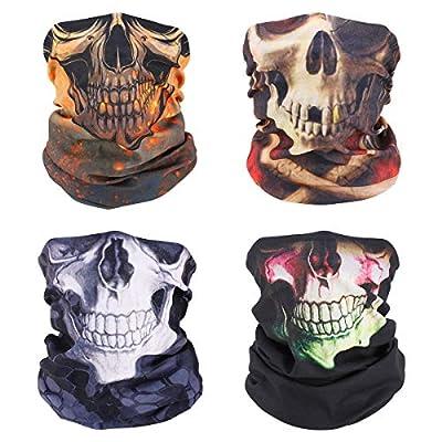 MoKo Neck Gaiter Face Mask [4 Pack], UV Sun Protection Halloween Skull Bandana Face Mask Reusable Scarf Balaclava Headbands, Windproof Bandana for Men Women for Motorcycle Cycling Skiing Party by MoKo