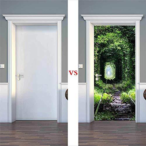Door Wall Sticker Waterproof 3D Door Sticker Self-Adhesive Paper Decoration Bedroom Living Room Door Wall Sticker Green Tree Path
