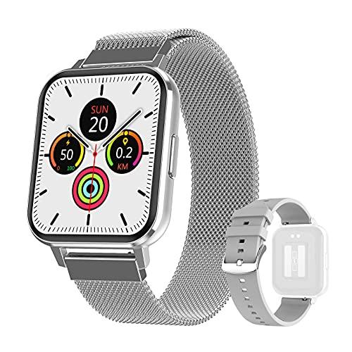 DTNO.I Smartwatch 1,78   Orologio Fitness Impermeabile IP68 Cardiofrequenzimetro Incorporato e Monitor del Sonno Contapassi da Polso per Donna e Uomo Sportive Activity Tracker per Android IOS(Argento)
