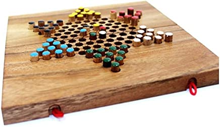 SLY Chinese Checkers, Wooden Solid Wood Board, Foldable Checkers Board, Easy To Carry, Suitable For All Occasions, Can Accommodate 2-6 People Game ( Size : 25.5*25.5*1.7cm )