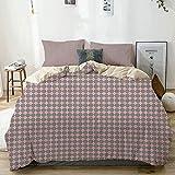 Juego de funda nórdica beige, formas de rombos rosados con bordes redondos que forman un patrón de azulejos, juego de cama decorativo de 3 piezas con 2 fundas de almohada, fácil cuidado, antialérgic