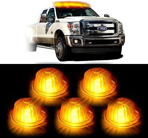 cciyu 5x 1313A Cab Marker Round Light Amber Cover White T10 6 5730 SMD 6000K LED Bulb w Base product image