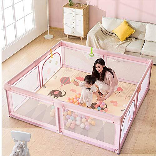 JHKGY Parque portátil grande para interiores y exteriores, con malla transpirable, centro de actividades de seguridad para niños, para niños, niñas, bebés, rosa, 180 x 120 x 68 cm