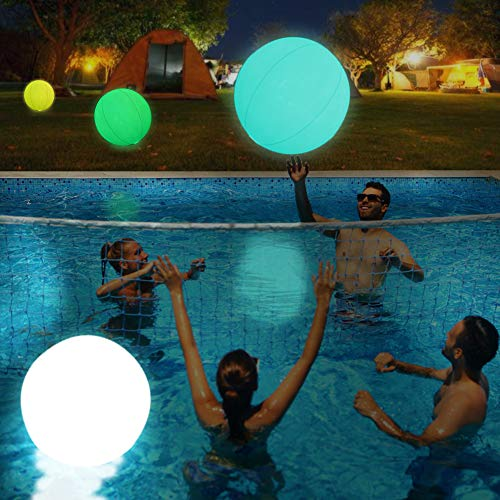 2pcs Light Up Pool Floats LED Beach Ball Volleyball Pool Toys 16 Colors Glow Ball 16'' Inflatable Floating Ball with Remote , The Dark Party Indoor Outdoor Decorations Birthday Gift for Kids and Adult