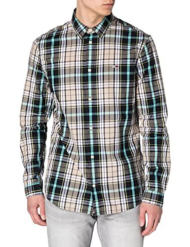 Tommy Jeans TJM Seasonal Check Shirt Camiseta, Beige Suave/Multicolor, XL para Hombre