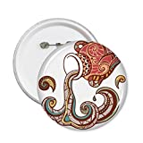 DIYthinker Signo Acuario constelación del Zodiaco símbolo ilustración patrón Redondo Pin Botón 5pcs