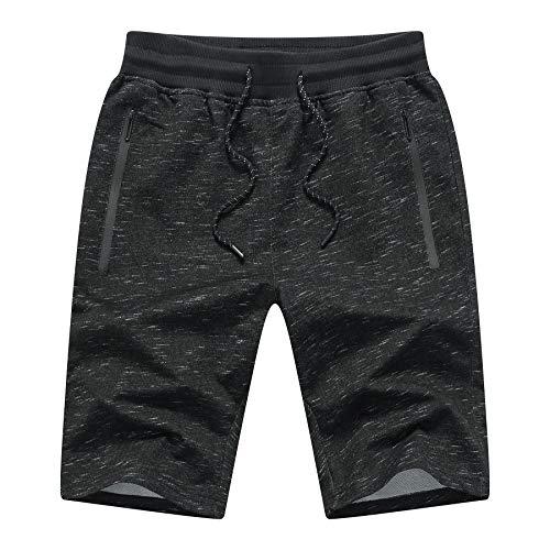 JustSun Sport Shorts Herren Kurze Hose Sommer beiläufig Baumwolle Sweat Shorts mit Elastische Taille und Reißverschlusstaschen Schwarz XX-Large