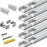 Perfíl de Aluminio para LEDS - 10x1metro Forma de U Perfil de Aluminio Para Tira de LEDs , Compacto Fácil de Cortar con Todos Los Accesorios Necesarios en Paquete
