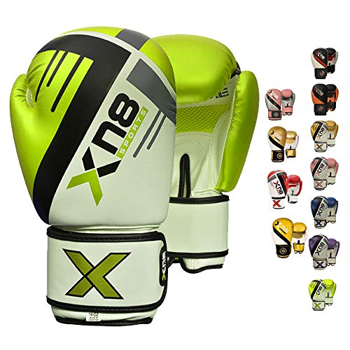 XN8 Boxhandschuhe|Muay Thai Training - 8oz 10oz 12oz 14oz 16oz-Kickboxen Pro Sparring- Professioneller Punchinghandsc-uhe Mitts-Boxsack Boxing Gloves-Männer und Frauen (Neon, 12oz)