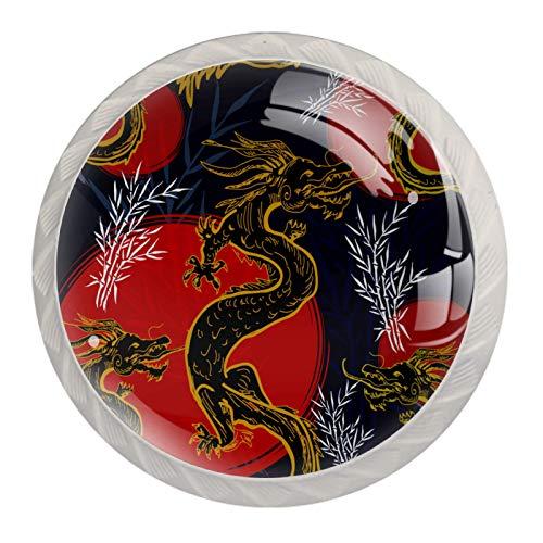 Pomos de cajón impresos en 3D para cajones con diseño de dragón asiático, 4 piezas de tiradores redondos de gabinete con tornillos...