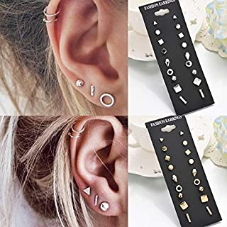 wuqinqing 9pairs/Set Simple Vintage Geometric Crystal Stud Earrings Set Charm Trendy Gold/Silver Alloy Punk Earrings Women Causal Jewelry Accessories Gift