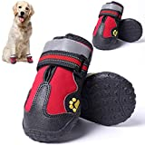 CALHNNA 4 PCS Dog Boots Dog Shoes for Medium to Large Dogs Waterproof Dog Shoes Reflective Straps Rugged Anti-Slip Sole Dog Rain Boots for Outdoor