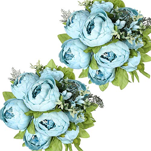Nubry 2pz Artificiale Peonia Seta Fiori Bouquet per Matrimonio Home Giardino Festa Decorazione (Blu Primavera)