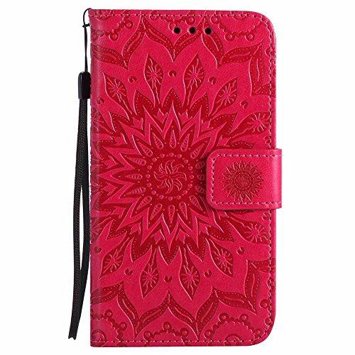 Dfly Custodia Galaxy S5/S5 Neo, Premium PU Goffratura Mandala Design Pelle Chiusura Magnetica Protettiva Portafoglio Custodia Super Sottile Flip Cover per Samsung Galaxy S5 / S5 Neo, Rosso