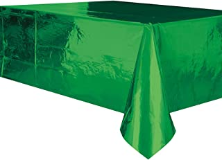 "Unique Rectangular Plastic Table Cover, Metallic Green, 137cm x 274cm (54"" x 108"")"