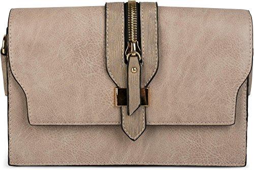 styleBREAKER Clutch Umhängetasche mit abgesetzter Schnalle und Reißverschluss Applikation am Deckel, Handtasche, Tasche, Damen 02012157, Farbe:Beige