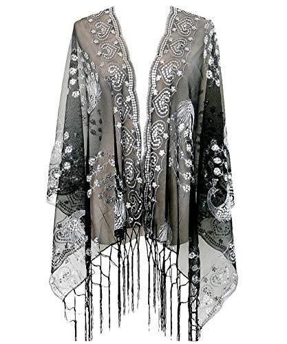 keland Gatsby 1920 Bufanda de Las Mujeres Brillo de Malla de Lentejuelas de la Boda del Cabo del mantón con Flecos por la Tarde Abrigo (Plateado/Negro)