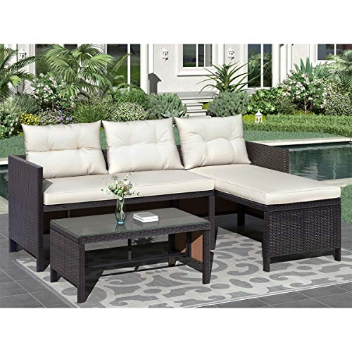 Unknown1 3 Piece Outdoor Rattan Furniture Sofa Set with Cushions Modern Contemporary Coffee Table Cushion Included