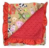 Dear Baby Gear Baby Blankets, Tan Farm Life Animal Barnyard, Red Minky, Red Ruffle