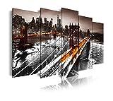 DekoArte 434 - Cuadros Modernos Impresión de Imagen Artística Digitalizada | Lienzo Decorativo Para Tu Salón o Dormitorio | Ciudades Nueva York Puente De Brooklyn Iluminado | 5 Piezas 200 x 100 cm XXL