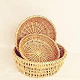 ShioSel, Bread, Fruit, Candy Serving Basket, Handwoven of Natural Wicker, Round, 3-Pack (3-Pack)