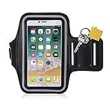 Alfort Brassard Sport, Armband de Téléphone Imperméable Anti-Sueur avec Porte-clés et Sangle Réglable Ecran Transparent pour...