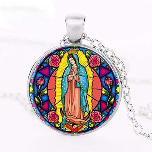 Steampunk Collar con colgante de la Virgen María Sagrada de la Virgen de Guadalupe con forma de corazón religioso de vidriera