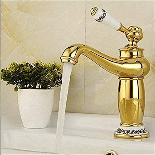 BGHDIDDDDD Grifo de agua a la parrilla pintura blanca pulida oro grifos lavabo grifo mezclador agua caliente y fría