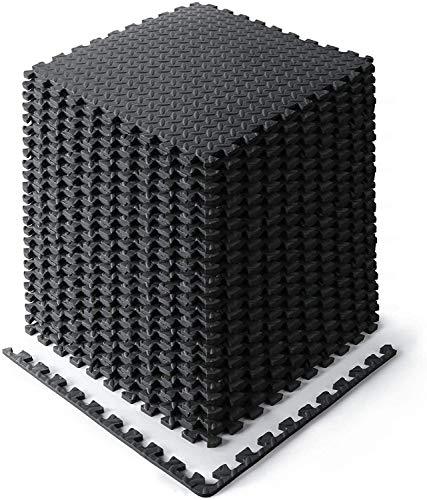 Schutzmatten Set 60x60, Trainingsmatten, Eva Bodenschutzmatte, Yogamatten, Puzzlematte für Büro, Fitnessraum, Bodenschutz (Schwarz -16 Stück)