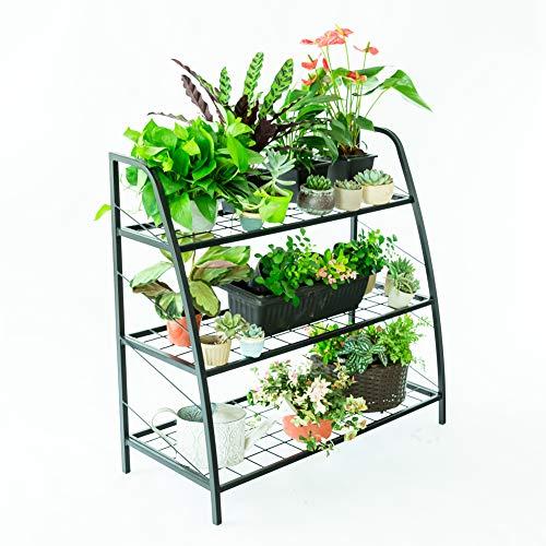 C-Hopetree Soporte para Plantas de Interior y Exterior, Estante para Plantas, Soporte de Almacenamiento para Patio o Garaje, Organizador de Zapatos, Marco de Metal Negro