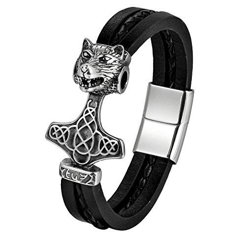 JewelryWe Schmuck Herren Armband Edelstahl Lederseil Drache Drachenkopf Thors Hammer Armbänder Armschmuck, Magnetverschluss, Schwarz
