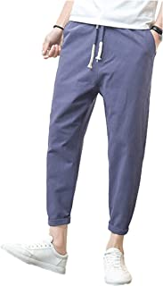[サン ブローゼ] アンクルパンツ ストレート チノ パンツ 九分丈 ユッタリ 涼しい 爽やか 綿 麻 M ~ XL メンズ