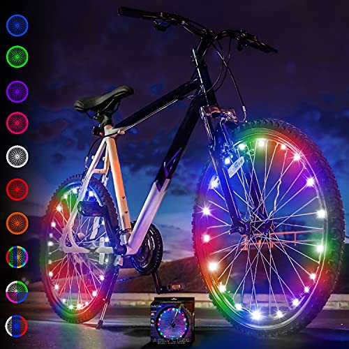 Activ Life Bike Lights (2 Tires, Multicolor) Top 2021 Christmas Stocking Stuffers - Best Bicycle Gifts for Kids Ages 7 8 9 10 11 12 Year Old Boys & Girls, Fun Teens, Cool Men & Women Birthday Presents