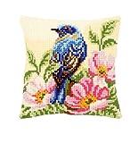 Vervaco Vogel auf Wilder Rose Kreuzstichkissen/Stickkissen vorgedruckt, Baumwolle, Mehrfarbig, 40 x...