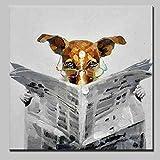 ZBRSHYH Pintura Al Óleo Pintada A Mano sobre Lienzo,Animal Perro Marrón La Lectura De Periódicos Hogar Decoración De Arte De Pared Se Adapta A Tu Casa Salón,Dormitorio,Office,Hotel,Restaura